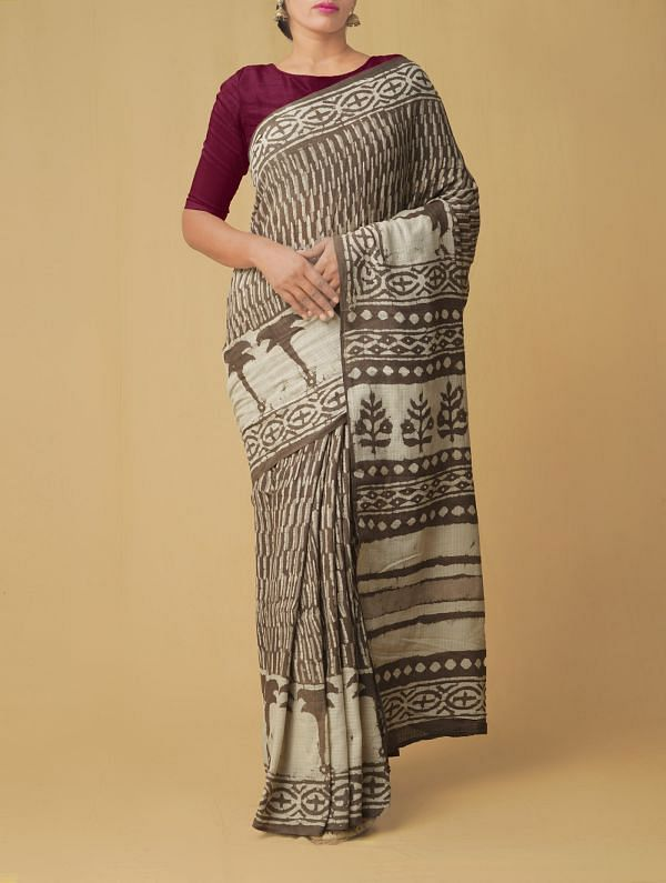Grey Pure Kota Cotton Saree