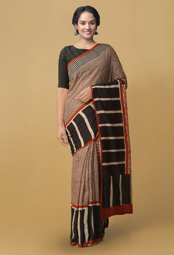 Online Shopping for Cream Pure Kota Cotton Saree with Bagru from Rajasthan at Unnatisilks.comIndia