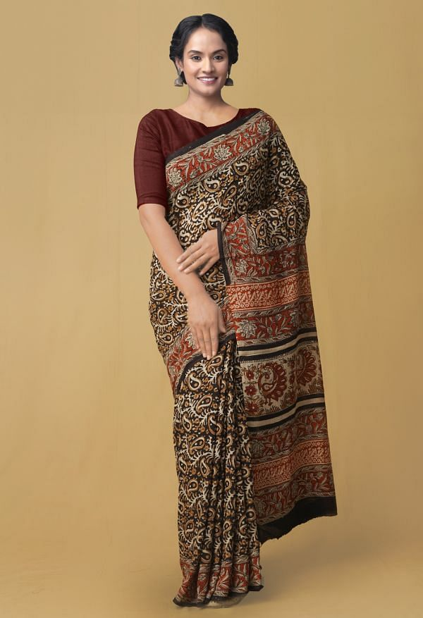 Online Shopping for Black Pure Kota Cotton Saree with Bagru from Rajasthan at Unnatisilks.comIndia