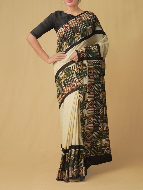 Online Shopping for Cream Pure Kota Cotton Saree with Batik Prints from Rajasthan at Unnatisilks.comIndia