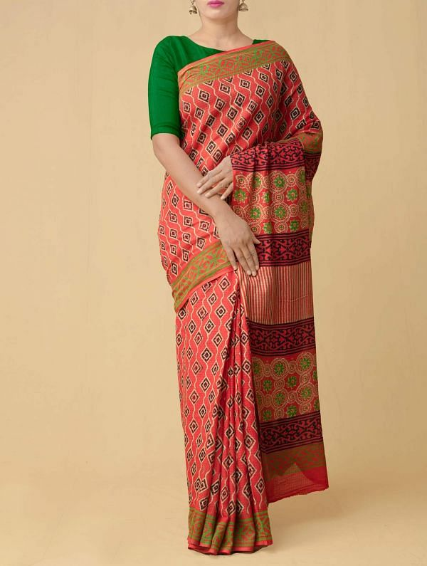 Red Pure Kota Cotton Saree