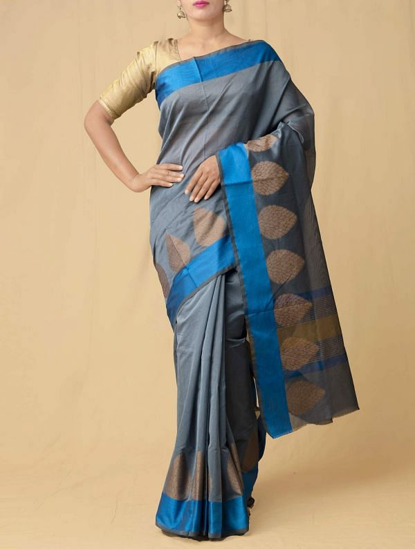 Online Shopping for Grey Pure Kanchi Sico Saree with Weaving from Tamil Nadu at Unnatisilks.comIndia