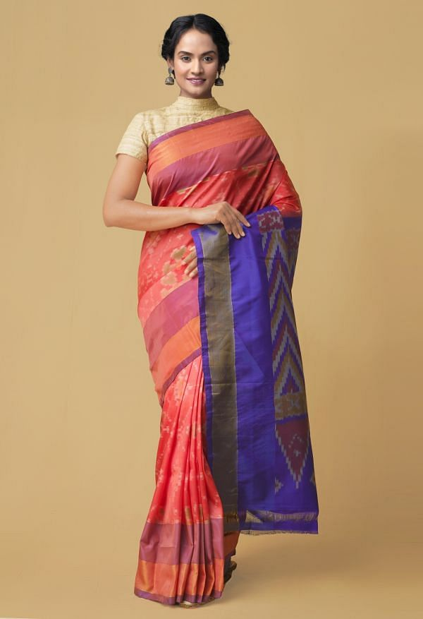 Online Shopping for Red Pure Handloom Ikat Pochampally Silk Cotton Saree with Batik Prints from Rajasthan at Unnatisilks.comIndia