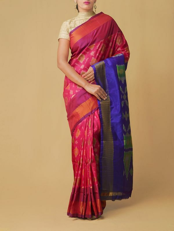Pink Pure Handloom Ikat Pochampally Silk Cotton Saree