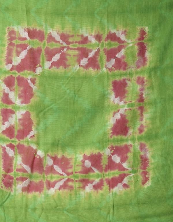 Pink-Green Pure Kota Cotton Saree