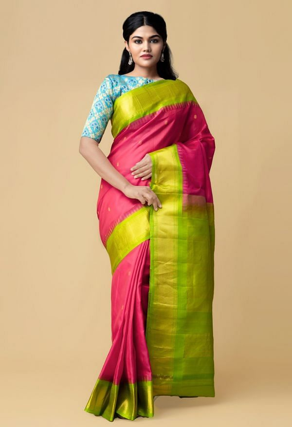 Online Shopping for Pink Pure Handloom Gadwal Silk Saree  with Weaving from Telangana at Unnatisilks.comIndia
