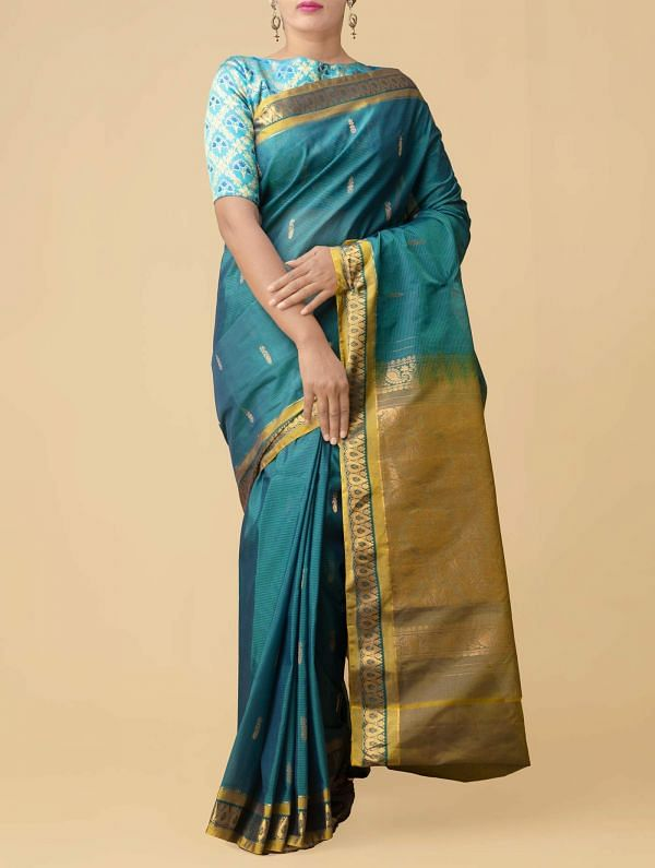 Online Shopping for Green Pure Gadwal Sico Saree  with Weaving from Telangana at Unnatisilks.comIndia