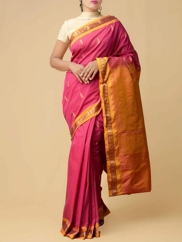 Online Shopping for Pink Pure Gadwal Sico Saree  with Weaving from Telangana at Unnatisilks.comIndia