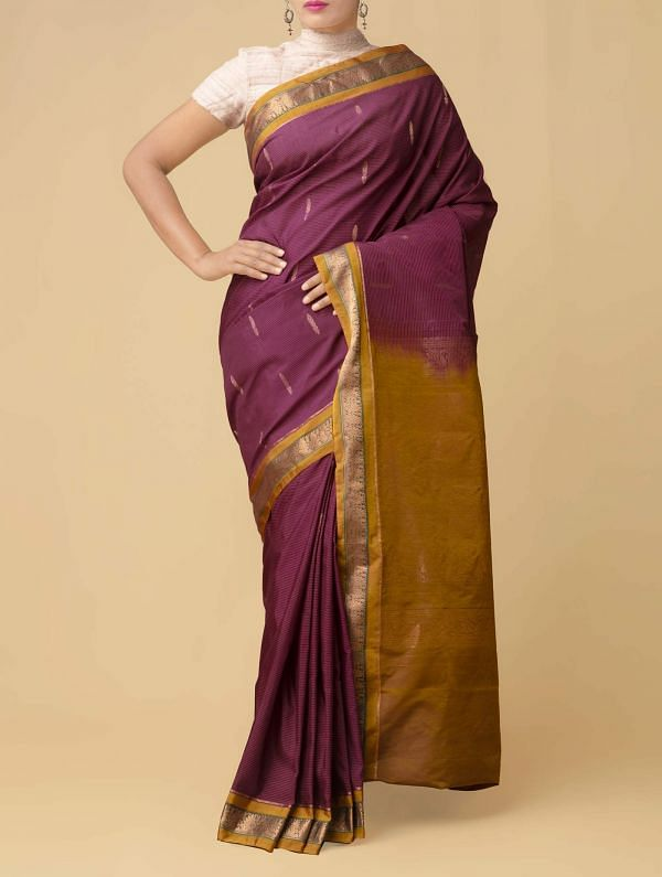 Online Shopping for Burgundy Pure Gadwal Sico Saree  with Weaving from Telangana at Unnatisilks.comIndia