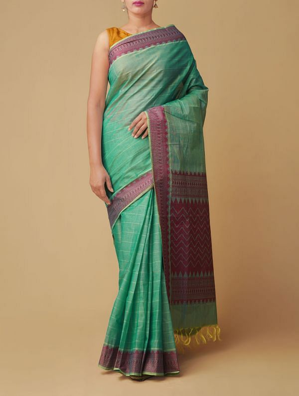 Green Pure Hand Crafted Kanchi Cotton Saree