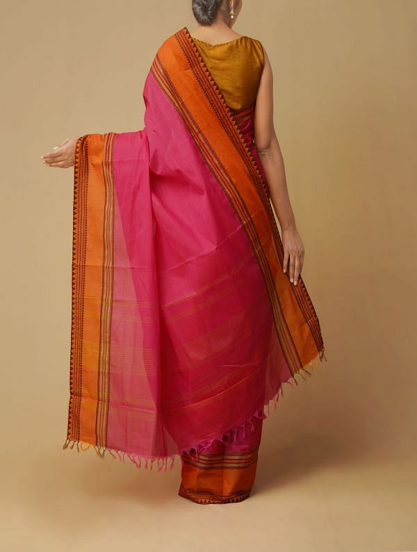 Pink Pure Handcraft Kanchi Cotton Saree