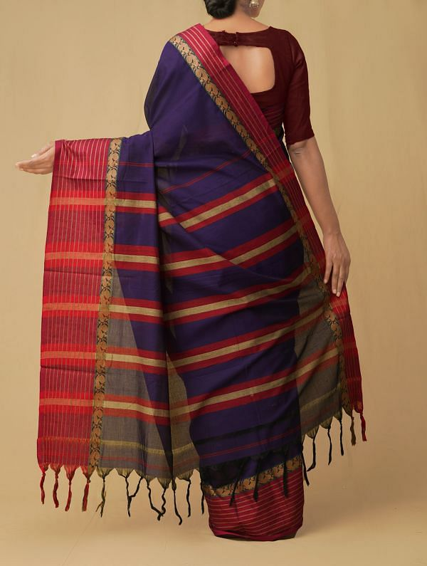 Violet Pure Handloom Narayanpet Cotton Saree