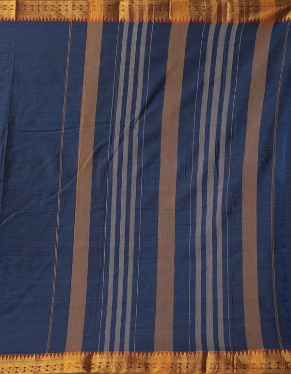 Navy Blue Pure Handloom Narayanpet Cotton Saree