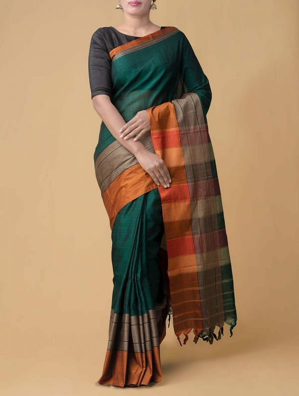 Green Pure Handloom Narayanpet Cotton Saree