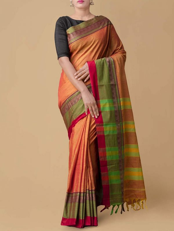 Online Shopping for Yellow-Red Pure Handloom Narayanpet Cotton Saree with Batik Prints from Rajasthan at Unnatisilks.comIndia