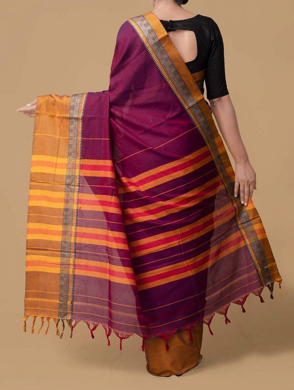 Purple Pure Handloom Narayanpet Cotton Saree