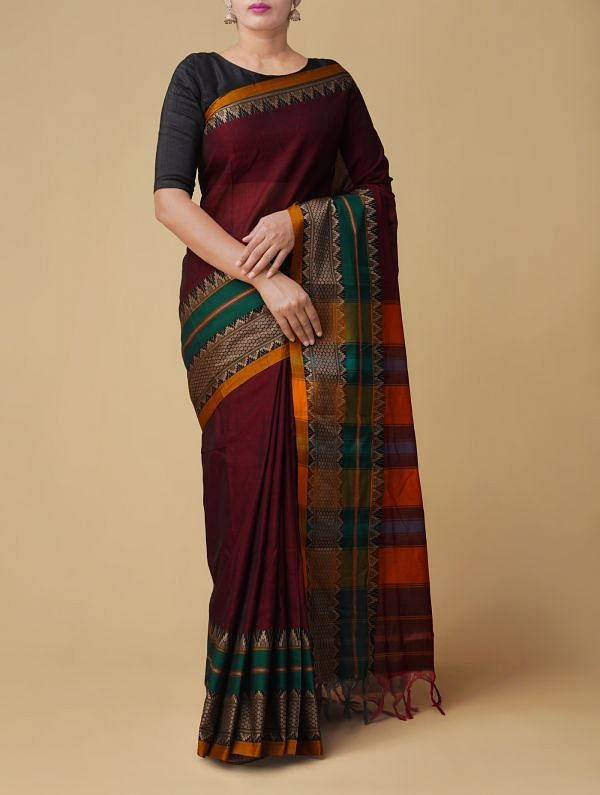 Online Shopping for Maroon Pure Handloom Narayanpet Cotton Saree with Weaving from Tamilnadu at Unnatisilks.comIndia