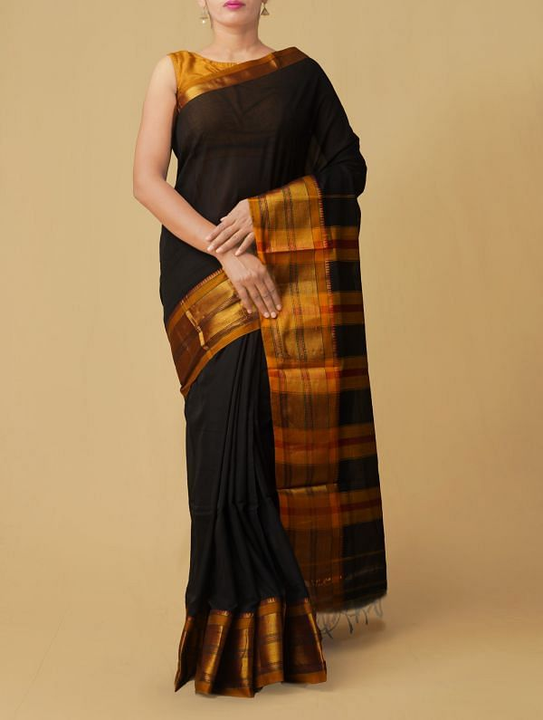 Black Pure Handloom Narayanpet Cotton Saree