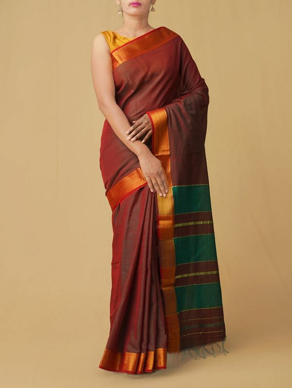 Online Shopping for Red-Green Pure Handloom Narayanpet Cotton Saree with Batik Prints from Rajasthan at Unnatisilks.comIndia