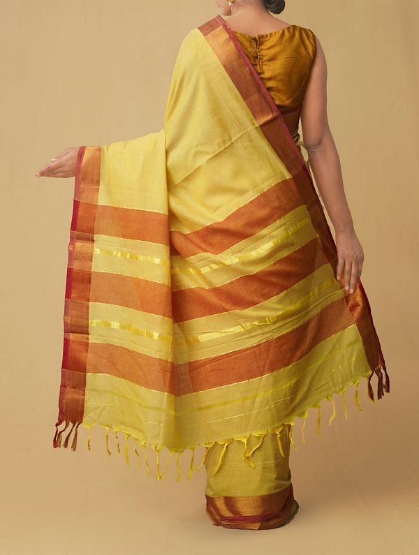 Yellow Pure Handloom Narayanpet Cotton Saree