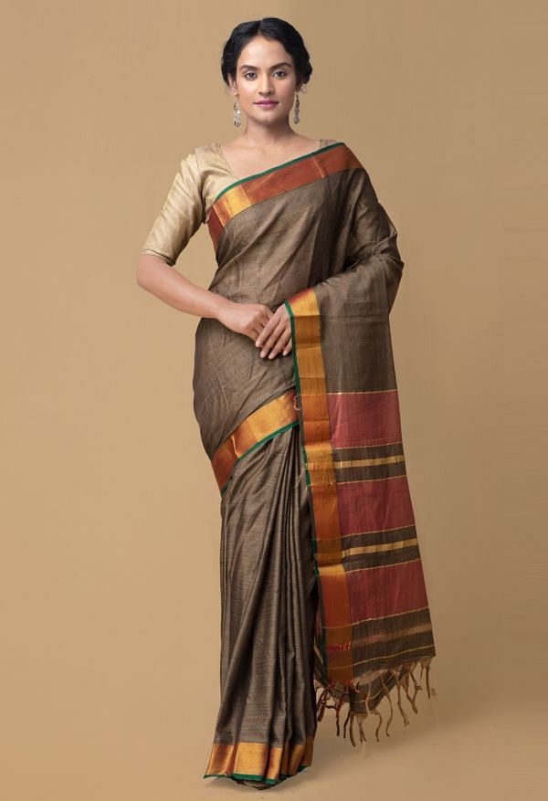Online Shopping for Grey Pure Handloom Narayanpet Cotton Saree with Weaving from Tamilnadu at Unnatisilks.comIndia
