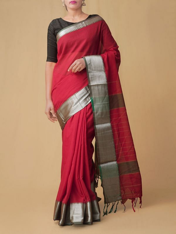 Red Pure Handloom Narayanpet Cotton Saree