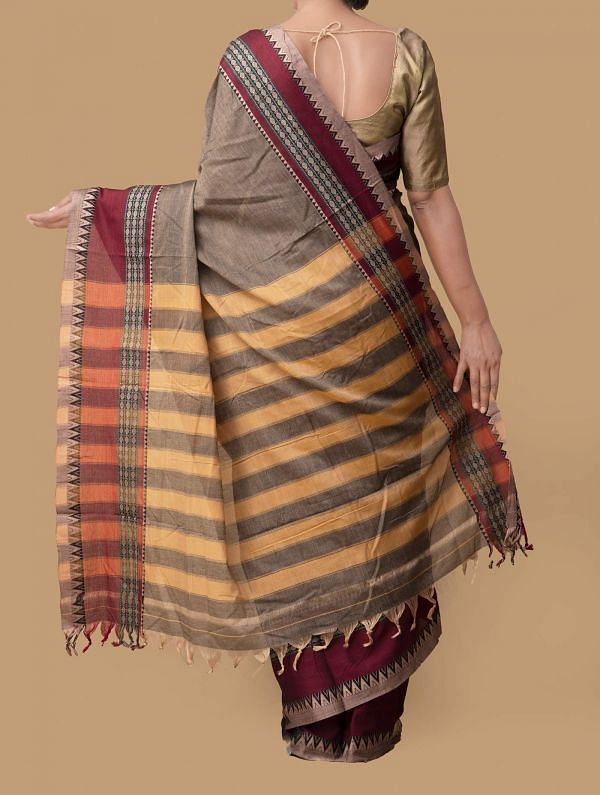 Grey Pure Handloom Naryanpet Cotton Saree