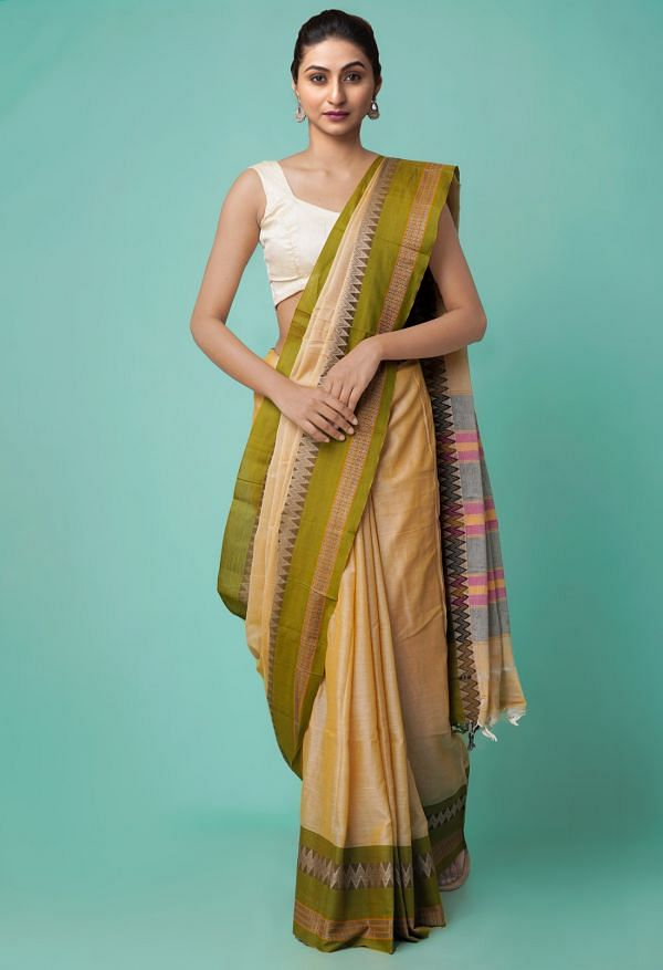 Online Shopping for Brown Pure Handloom Naryanpet Cotton Saree with Weaving from Andhra Pradesh at Unnatisilks.comIndia