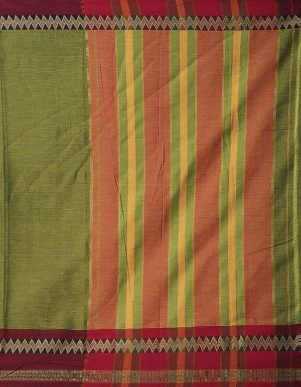 Online Shopping for Green Pure Handloom Naryanpet Cotton Saree with Weaving from Andhra Pradesh at Unnatisilks.comIndia