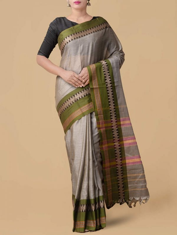 Online Shopping for Grey Pure Handloom Naryanpet Cotton Saree with Weaving from Tamilnadu at Unnatisilks.comIndia