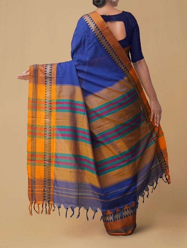 Blue Pure Handloom Naryanpet Cotton Saree