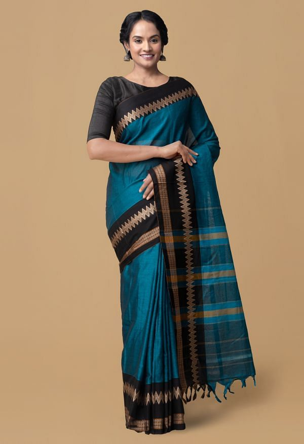 Online Shopping for Blue Pure Handloom Naryanpet Cotton Saree with Weaving from Andhra Pradesh at Unnatisilks.comIndia