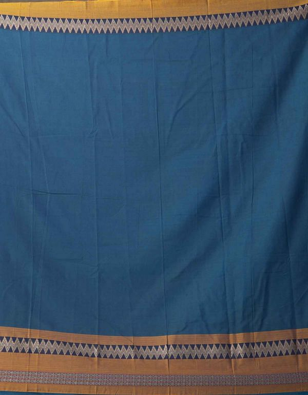 Blue-Green Pure Handloom Naryanpet Cotton Saree