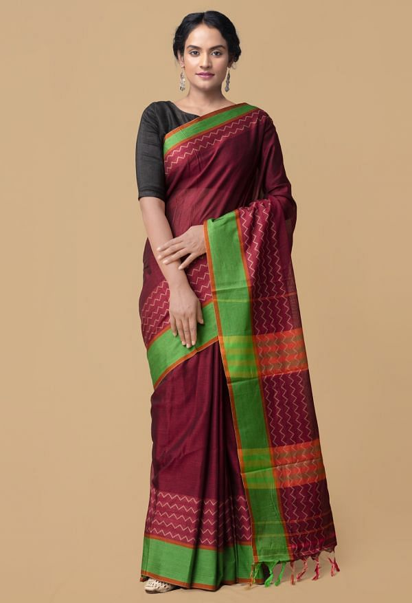 Online Shopping for Maroon Pure Handloom Naryanpet Cotton Saree with Weaving from Tamilnadu at Unnatisilks.comIndia
