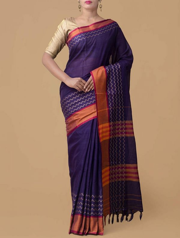 Online Shopping for Violet Pure Handloom Naryanpet Cotton Saree with Weaving from Tamilnadu at Unnatisilks.comIndia