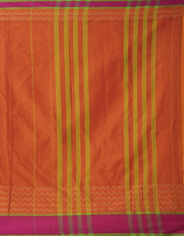 Online Shopping for Orange Pure Handloom Naryanpet Cotton Saree with Weaving from Andhra Pradesh at Unnatisilks.comIndia