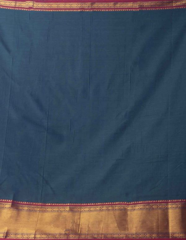 Online Shopping for Blue-Green Pure Handloom Naryanpet Cotton Saree with Weaving from Tamilnadu at Unnatisilks.comIndia