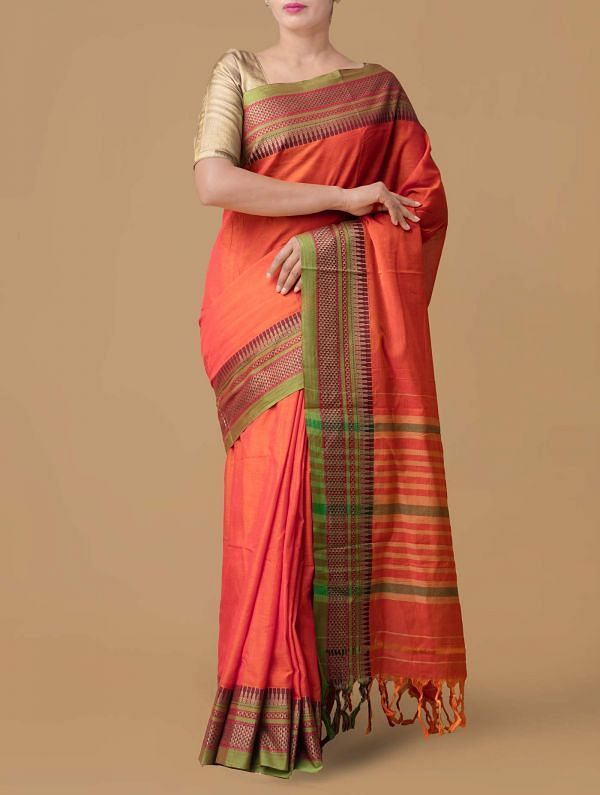 Online Shopping for Orange Pure Handloom Naryanpet Cotton Saree with Weaving from Tamilnadu at Unnatisilks.comIndia