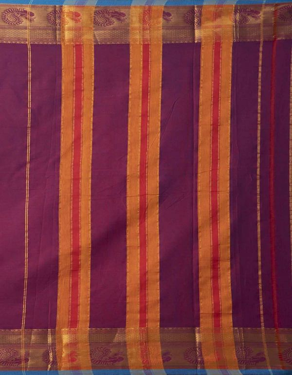 Online Shopping for Purple Pure Handloom Narayanpet Cotton Saree with Weaving from Tamilnadu at Unnatisilks.comIndia