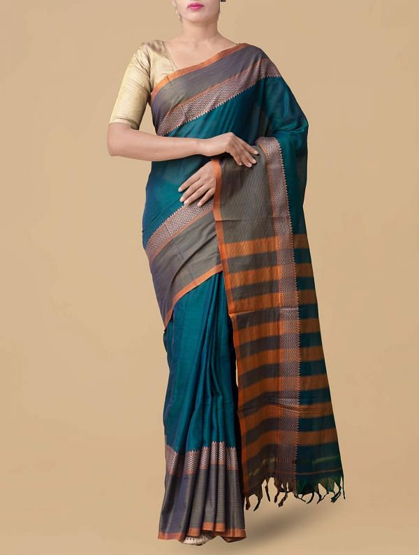 Online Shopping for Blue-Green Pure Handloom Narayanpet Cotton Saree with Weaving from Tamilnadu at Unnatisilks.comIndia
