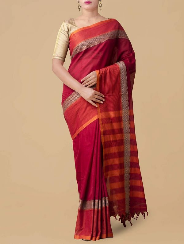 Online Shopping for Red Pure Handloom Narayanpet Cotton Saree with Weaving from Tamilnadu at Unnatisilks.comIndia