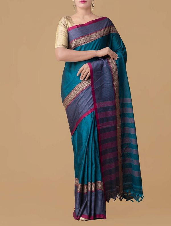 Online Shopping for Blue Pure Handloom Narayanpet Cotton Saree with Weaving from Tamilnadu at Unnatisilks.comIndia