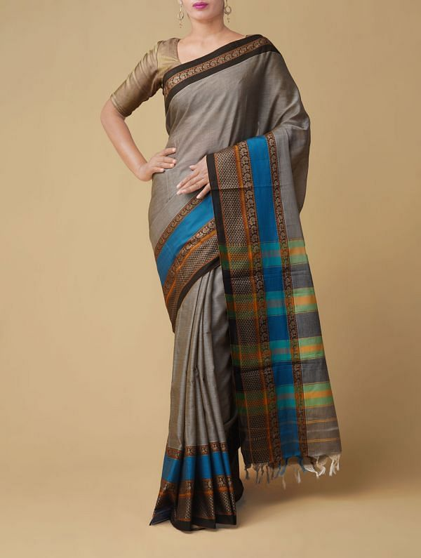 Online Shopping for Grey Pure Handloom Narayanpet Cotton Saree with Weaving from Andhra Pradesh at Unnatisilks.comIndia