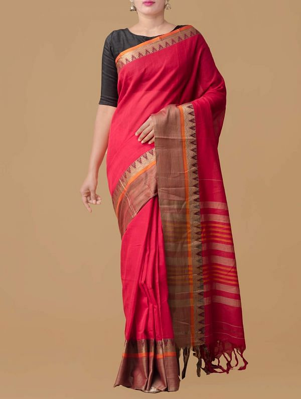 Online Shopping for Red Pure Handloom Narayanpet Cotton Saree with Weaving from Andhra Pradesh at Unnatisilks.comIndia