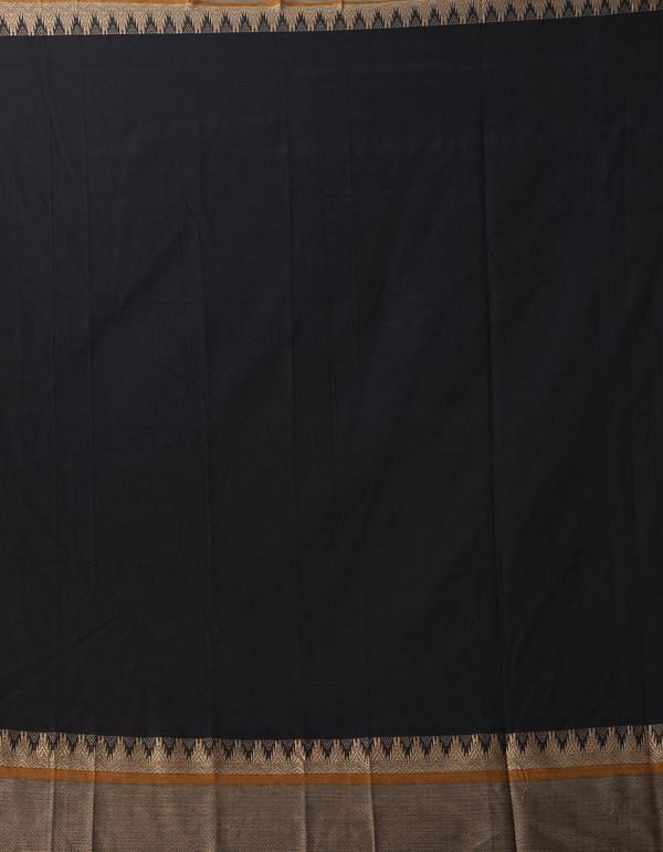 Online Shopping for Black Pure Handloom Narayanpet Cotton Saree with Weaving from Andhra Pradesh at Unnatisilks.comIndia