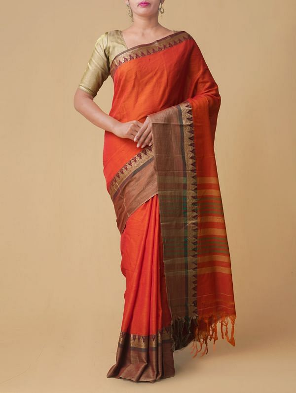 Orange Pure Handloom Narayanpet Cotton Saree