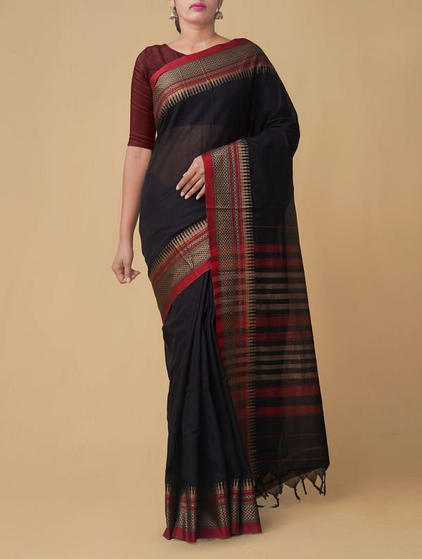 Online Shopping for Black Pure Handloom Naryanpet Cotton Saree with Weaving from Andhra Pradesh at Unnatisilks.comIndia