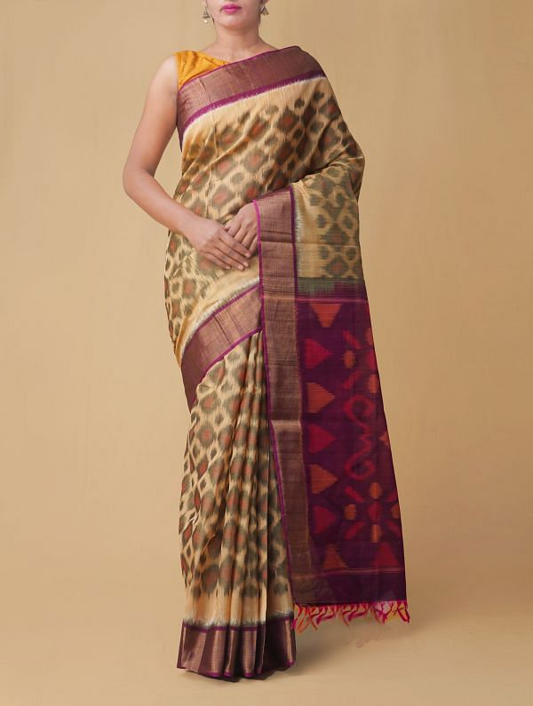 Online Shopping for Brown Pure Handloom Pochampally Silk Cotton Saree with Ikat from Andhra Pradesh at Unnatisilks.comIndia