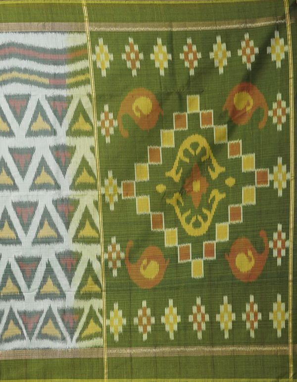Online Shopping for White Pure Handloom Pochampally Silk Cotton Saree with Ikat from Andhra Pradesh at Unnatisilks.comIndia