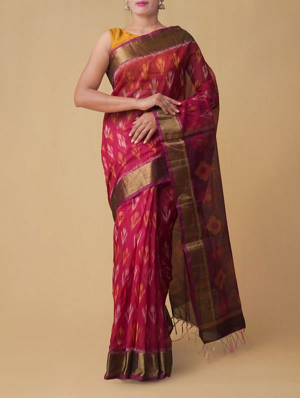Online Shopping for Pink Pure Handloom Pochampally Silk Cotton Saree with Ikat from Andhra Pradesh at Unnatisilks.comIndia